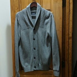 Men's small button front cardigan.